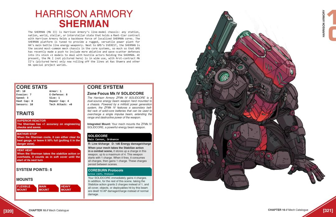 "A pagespread from the developing Lancer core rulebook for the ""HARRISON ARMORY SHERMAN"" mech model. A bulky, box-like mech is bent on one knee to the right of the page; there is a paragraph-long description and a set of stat boxes to the left. Lancer, Massif Press, 2019."