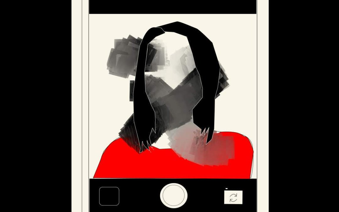 An abstracted portrait of a woman is framed on a mobile device. Half, Emma Kidwell, 2019.