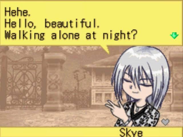 "A screenshot of Skye saying, ""Hehe. Hello, beautiful. Walking alone at night?"""
