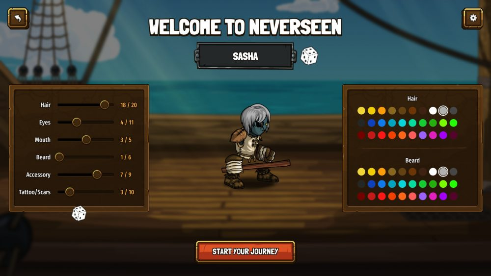 A screenshot of the character creation screen, which features a cartoony gray-haired character with floating limbs standing on a blurry ship background. There are appearance sliders on the left, and palettes for color selection on the right.