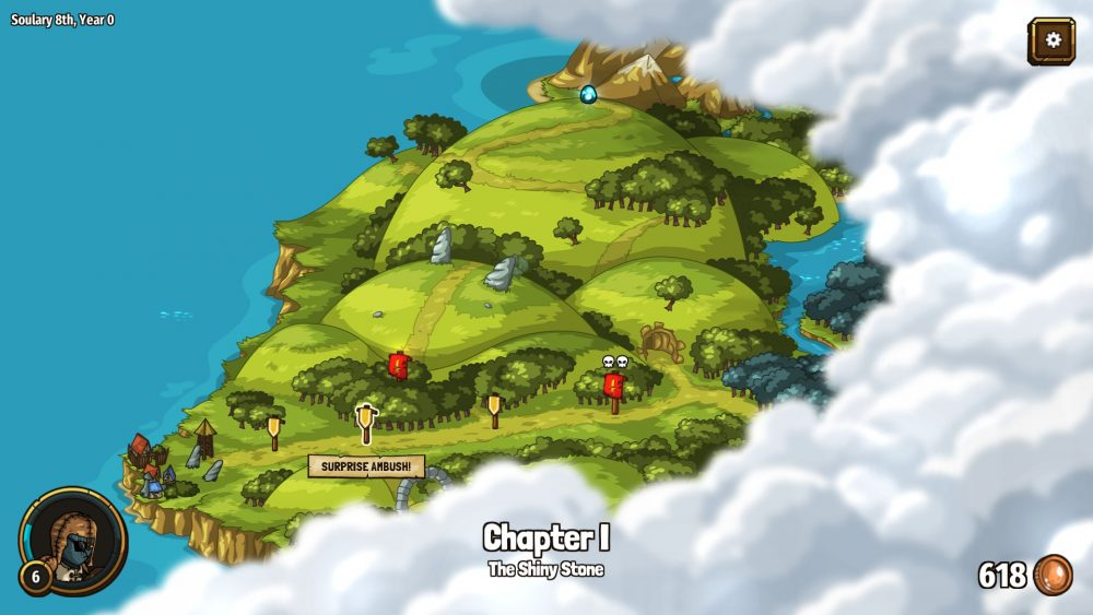 "A screenshot of the island and the levels players can navigate to. The second level marker has a banner reading ""SURPRISE AMBUSH!"" under it. Past the fourth marker, the island is obscured by clouds."