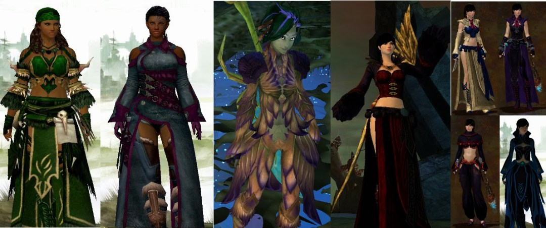 A series of outfits from Guild Wars 2.