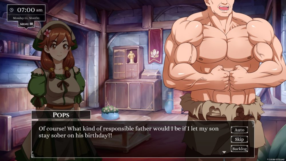 """A large character flexes on screen next to a much smaller female character. Text from a character named Pops reads, """"Of course! What kind of responsible father would I be if I let my son stay sober on his birthday?"""""""
