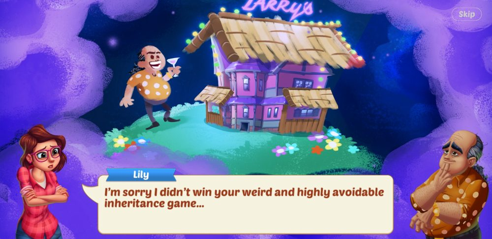 """A screenshot of Lily's Garden showing a dream sequence in which Larry has turned Lily's mansion into a nightclub. Lily says, """"I'm sorry I didn't win your weird and highly avoidable inheritance game…"""""""