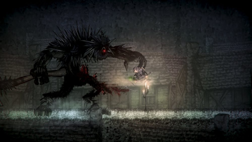 A screenshot of Salt and Sanctuary, showing a large, dark beast holding the protagonist threateningly.