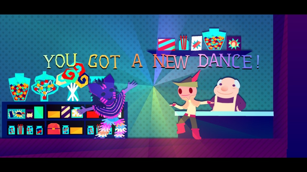 "A screenshot of Wandersong where three people are in a shop. The protagonist and a person wearing a purple mask have their armed splayed. There's also text that reads, ""You got a new dance!"" Wandersong, Dumb and Fat Games, 2018"