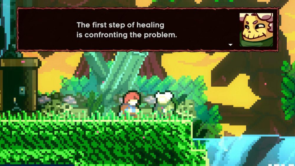 """A screenshot from Celeste in which the character """"Granny"""" says to Madeline, """"The first step of healing is confronting the problem."""" Celeste, Matt Makes Games, 2018."""