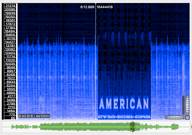 A spectrogram of an audio file, with the word AMERICAN spelled out by the shape of the waveform.