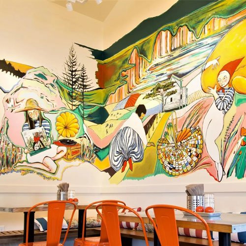 Finished mural in dining room.