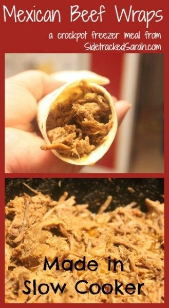 Mexican Beef Wraps - a Crockpot Freezer Meal by SidetrackedSarah.com