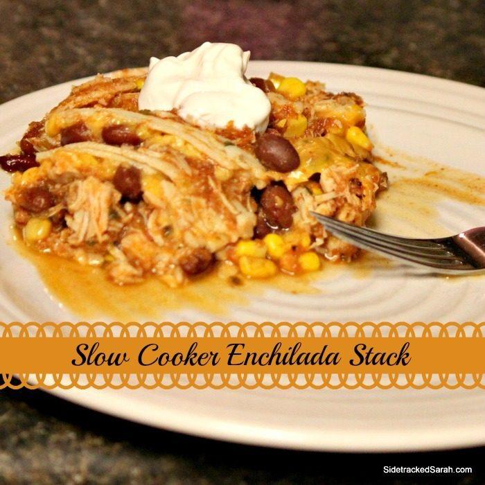 Slow Cooker Chicken Enchilada Stack