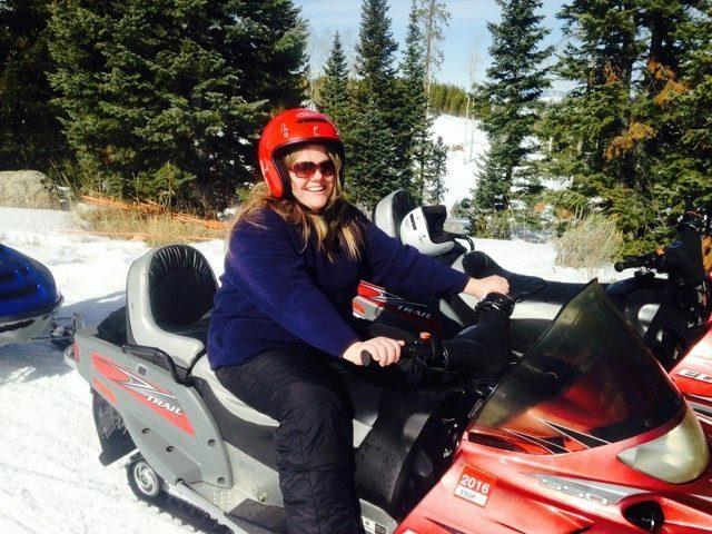 Sarah on Snowmobile