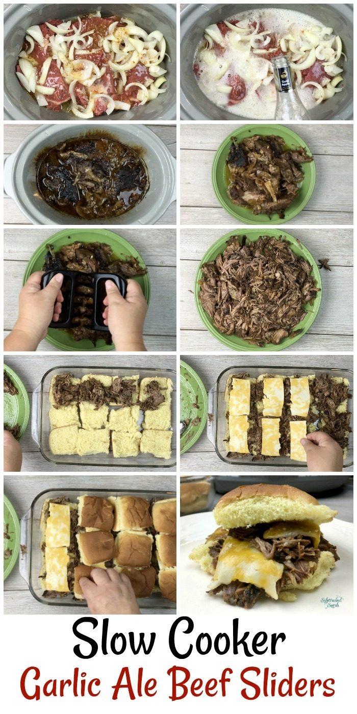Slow Cooker Garlic Ale Beef Sliders Pin