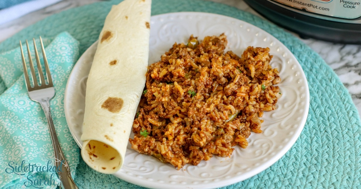 Instant Pot Spanish Rice With Ground Beef Sidetracked Sarah
