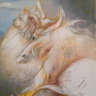 """Jason John """"Ayden Dreaming"""" 15""""x15"""" Oil and Acrylic on Canvas $900"""
