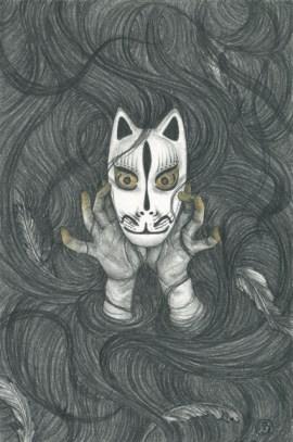 "Stephanie Inagaki, ""The Veil"", 12"" x 9"" (framed), graphite and colored pencil, $475"