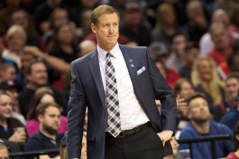 Mar 30, 2015; Portland, OR, USA; Portland Trail Blazers head coach Terry Stotts watches his team play the Phoenix Suns at Moda Center at the Rose Quarter. Mandatory Credit: Jaime Valdez-USA TODAY Sports
