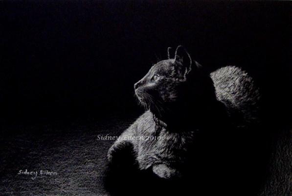 Title: Isa, Artist: Sidney Eileen, Medium: white pencil on black paper