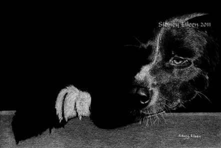 Title: May I Have Some, Please? Artist: Sidney Eileen, Medium: white pencil on black paper