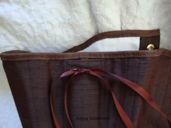 Brown Silk Renaissance Stays - Top Edging Detail, by Sidney Eileen