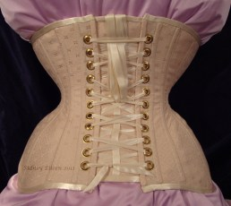 Diamond Brocade Coutil Tight Lacing Corset - Back View (laces tucked), by Sidney Eileen
