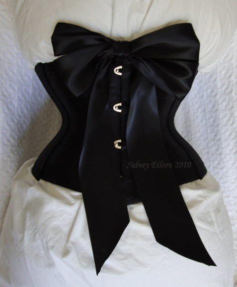 Tight Lacing Black Satin Ribbon Corset - Front View with Large Bow, by Sidney Eileen