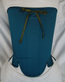 Blue Taffeta Silk Stays with Busk Pocket - Front View, by Sidney Eileen