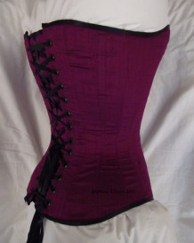 Plum Dupioni Sweetheart - Quarter Back View, by Sidney Eileen