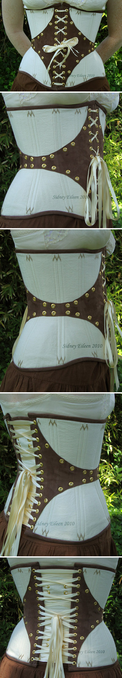 Leather and Coutil Grommeted Underbust, by Sidney Eileen