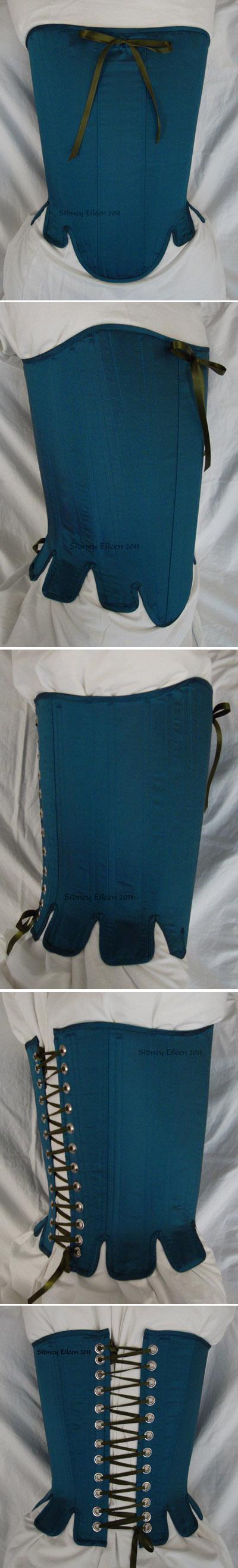 Blue Taffeta Silk Stays with Busk Pocket - All Views, by Sidney Eileen