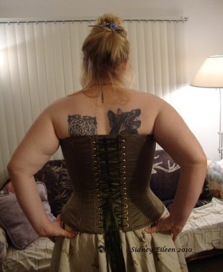 Drab Green Silk Overbust Corset - Back, by Sidney Eileen