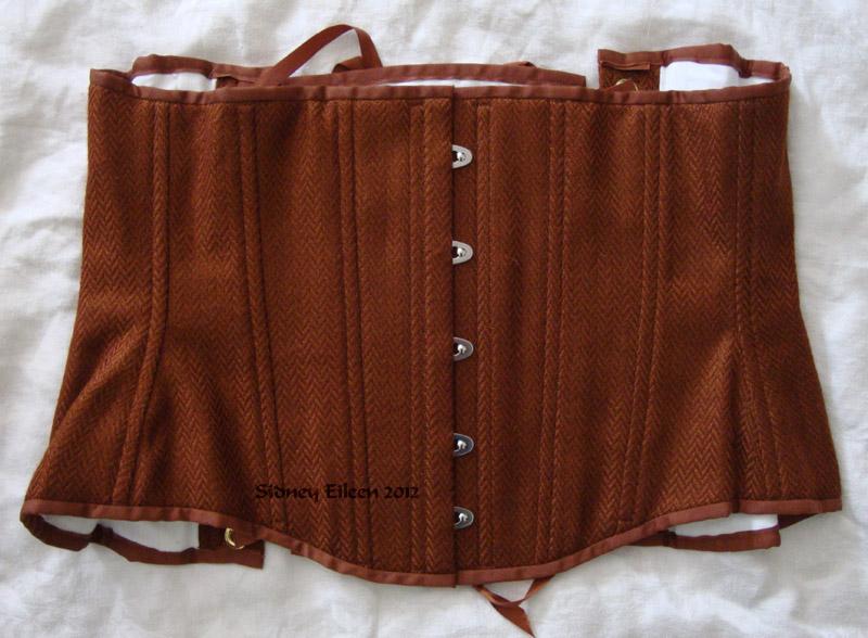 Brown Herringbone Underbust - Flat Closed View, by Sidney Eileen
