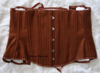 Brown Herringbone Underbust - Flat Closed View, by Sidney Eileen