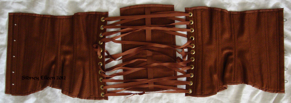 Brown Herringbone Underbust - Flat Cover, by Sidney Eileen