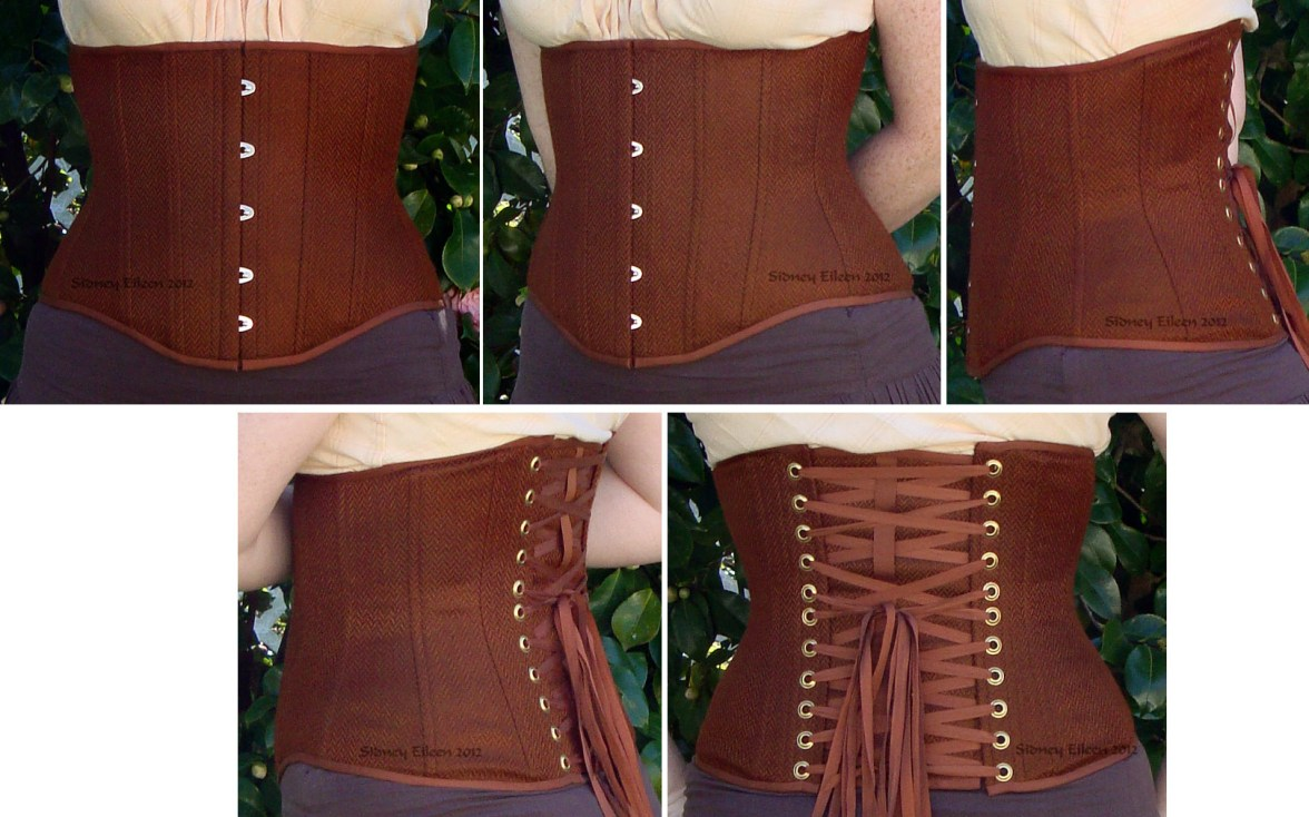 Brown Herringbone Underbust - All Views, by Sidney Eileen