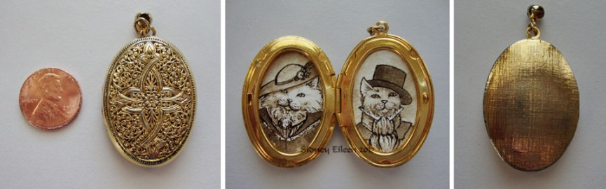 Mr. and Mrs. Prrrston in Filigree Locket, by Sidney Eileen, Medium: ink on watercolor paper