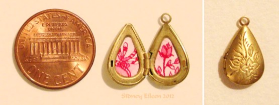 Red Rose and Dragonfly in Teardrop Locket, by Sidney Eileen, Medium: ink on watercolor paper