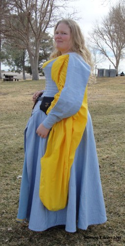 Blue Herringbone Irish Dress - Side View, by Sidney Eileen