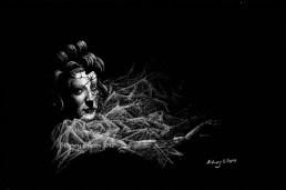 Title: Cracked, Artist: Sidney Eileen, Medium: white pencil on black paper