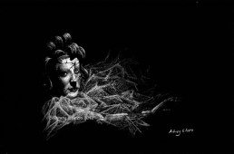 Title: Cracked, Artist: Sidney Eileen, Medium: white pencil on black paper