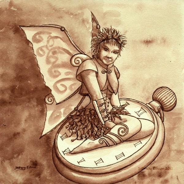 Title: My Little Pocket Watch, Artist: Sidney Eileen, Medium: ink on aquabord