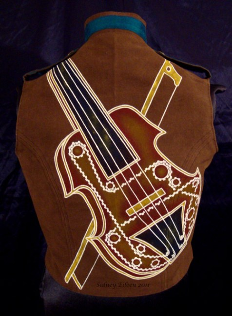 Colorful Violin Vest Final - Brown Side - Full Back Painting