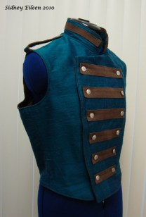 Colorful Violin Vest Prototype - Blue Side - Closed, Quarter Front