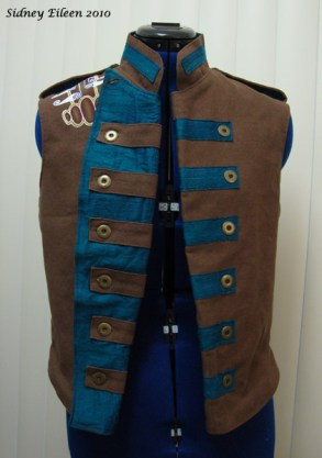 Colorful Violin Vest Prototype - Brown Side - Front Open and Folded