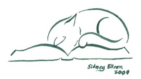Title: Min. Cat on Book 2, Artist: Sidney Eileen, Medium: brush marker on paper