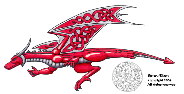Title: Celtic Knotwork Dragon, Artist: Sidney Eileen, Medium: pen and marker on paper