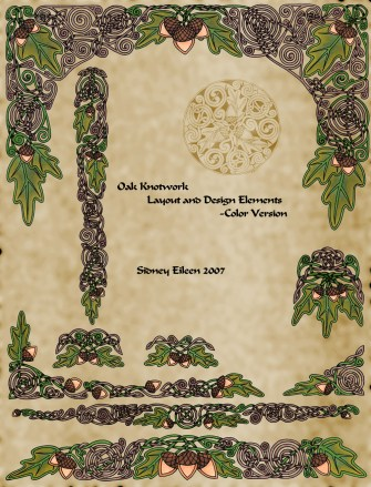 Title: Celtic Oak Layout Sheet in Color, Artist: Sidney Eileen, Medium: pen and marker on paper