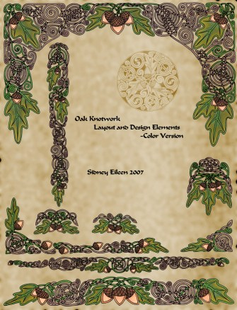 Title: Celtic Oak Layout Sheet in Color, Artist: Sidney Eileen, Medium: pen and marker on paper