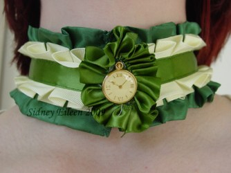 Green and Cream Ribbon Collar, by Sidney Eileen