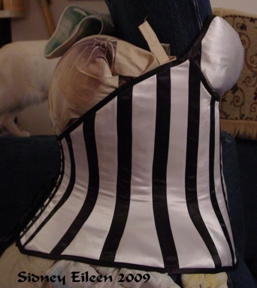 Low-Back Striped Merry Widow - Side View, by Sidney Eileen